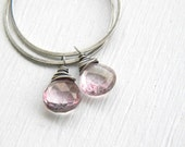 FREE SHIPPING - Pink Quartz Hoop Earrings - handmade stone oxidized oval sterling silver hoops, mystic quartz charms