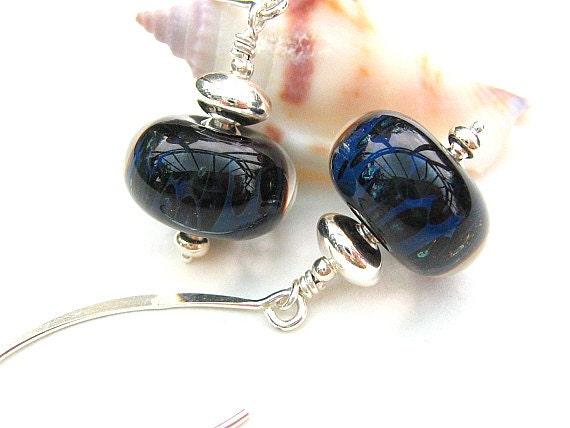 Dark Blue Boro Lampwork Earrings, Sterling Silver Beaded Earrings,Artisan Lampwork - CELESTIAL DANCE