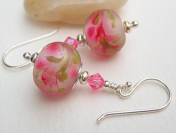 Rose Pink Glass Earrings, Artisan Lampwork Beaded Earrings, Sterling Silver - BRIAR ROSE