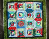 Wall Art Hanging Hand Quilted  Trust In The Lord  Proverbs 3:5 Green Red Blue Batik Art