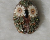 Woodsy Owl Focal Bead Pendant KeBead White Blue Jewelry statement necklace