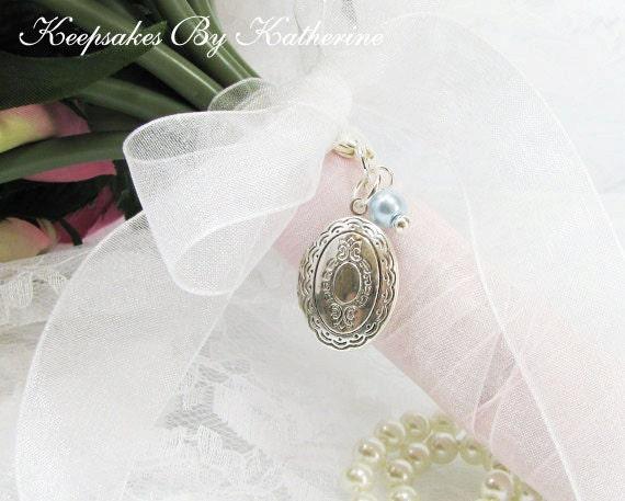 Brides Bouquet Locket , Brides Locket, Wedding Keepsake, Something Blue, In Memory Of