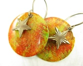 Sunset orange and yellow Hand Painted Earrings with brass star charms
