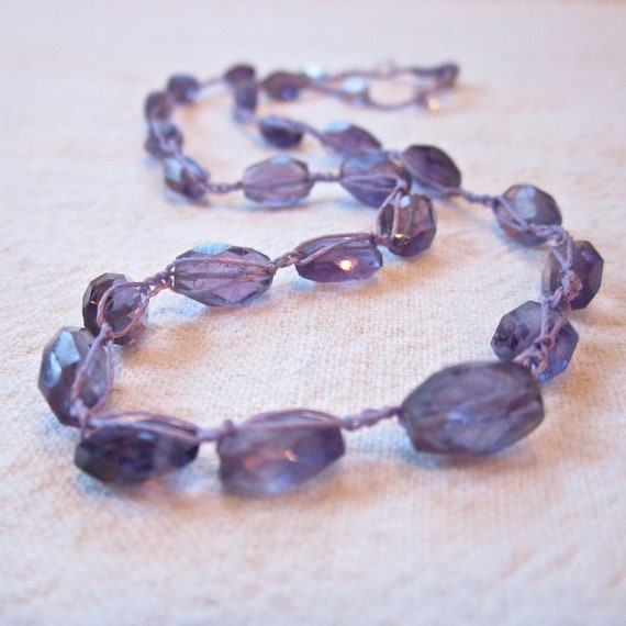 """Amethyst Gemstone classic crocheted necklace 15"""" long with bead and loop closure"""