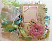 SHABBY Style Vintage Inspired Chipboard Album Premade Pages LOADED, Lots of detail OOAK