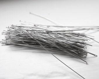 100pcs Rhodium Tone Base Metal Head Pins-76mm (3 Inch) (XL) (I-360)