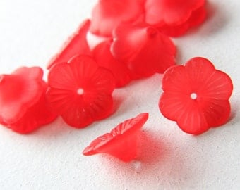 50pcs flower-shaped acrylic beads-Flower-Matte Red 21mm (6A11M113)