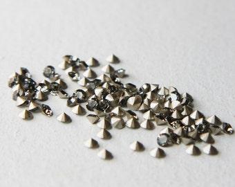 24pcs Swarovski 1028 Chaton Pointed Back Rhinestones-Foiled Black Diamond PP24 (SW807215)