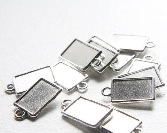 14pcs Oxidized Silver Tone Base Metal Cameo Settings-24x14mm (1603Y-J-125)
