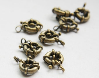 4pcs Antique Brass Tone Base Metal Round Spring Clasps-11mm (10004Z-O-79B)