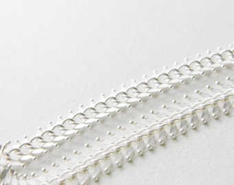One Foot Matte Silver Plated Brass Chain-Fish Bone 14mm (417C05)