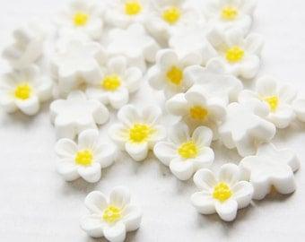 10pcs Acrylic Flower Cabochons-White 13mm (29F7)
