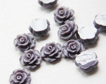 10pcs Acrylic Flower Cabochons- Purple 14mm (39F11)
