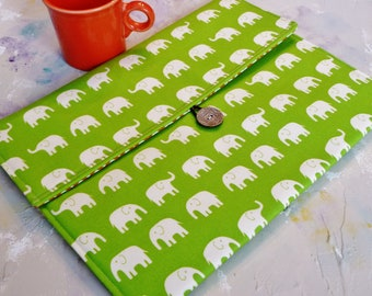 iPad Envelope Case, Ipad Mini Case, Ipad 3 Sleeve, Ipad envelope cover, case, holder Ipad 2 Case, Ipad 2 Cover in Green Elephants