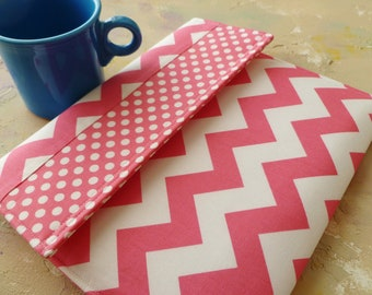 Kindle Cover Padded, Kindle Case, Nook Cover , Ereader Case, Custom Sleeve in Pink Chevron and Polka Dots