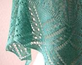 Knitting Pattern PDF / Green Peacock One Skein Shawl