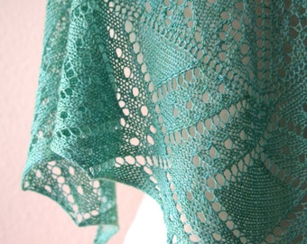 Knitting Pattern PDF / Green Peacock One Skein Shawl