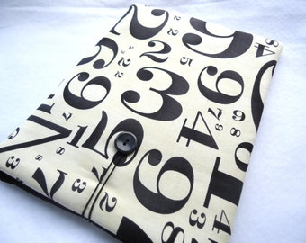 SALE  Ipad cover, Ipad case, Ipad sleeve, Designer padded I PAD case, Protect your electronics with this stylish case - Numbers print