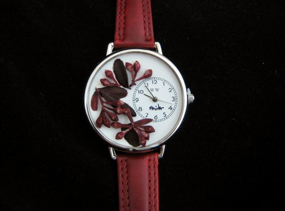 Wrist Watch with Red Eucalyptus Seeds and Leaves