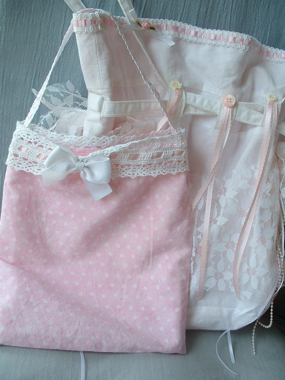 Bride's Bags,  Large Bag & Small Insert Bag, Sugar 'n Spice Pinks, Vintage Laces, Tassels, Faux Pearls, Buttons, Trims