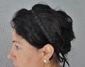 Wedding Bridal Black Beaded Trim Headband