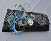 Wedding Formal Black Evening Clutch Adorned With Peacock Feathers And A Rhinestone Brooch