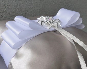 Wedding White And Silver Ring Bearer Pillow More Colors Available