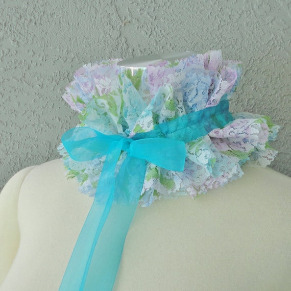 Victorian Inspired Floral Printed Lace And Ribbon Ruffle Collar Necklace Cowl Statement Piece