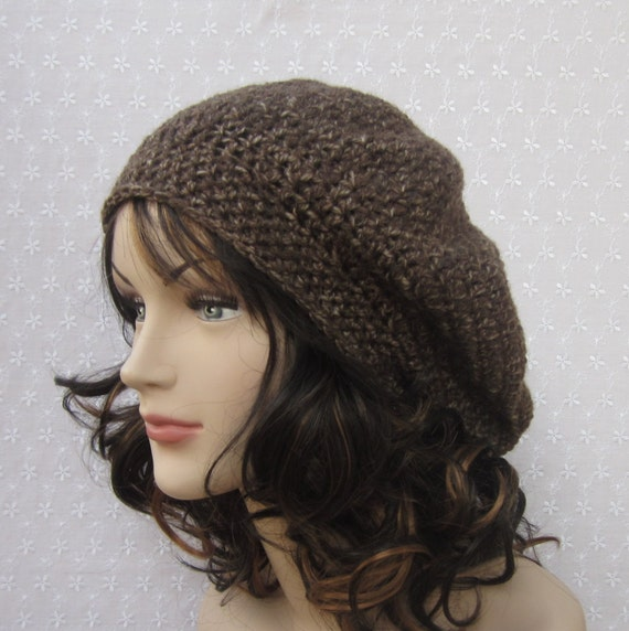 Brown Slouchy Crochet Hat - Womens Slouch Beret - Ladies Tam - Fall Winter Fashion Accessories