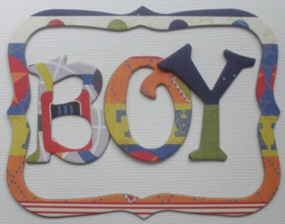 """ALL BOY  - Fancy Pants Chipboard Letters & Bracket Note Frame Die Cuts  - 1.5"""""""