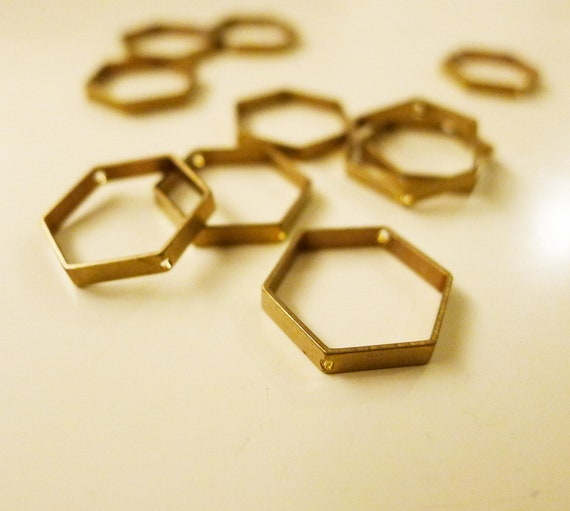 10 pieces of newly made cut raw brass tube outline charm in hexagon shape geometric art deco 17.5mm with 2 holes
