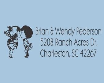 Custom Self inking Return Address Kissing Couple Brian and Wendy Design 200-015