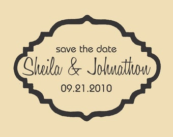 Save the Date Custom Rubber Stamp Sheila and Johnathon WR004