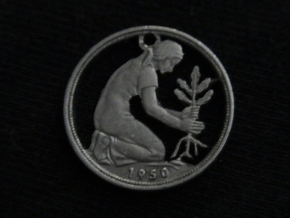 1950  Germany - cut coin pendant/charm - w/ Woman Planting Oak Tree Sapling