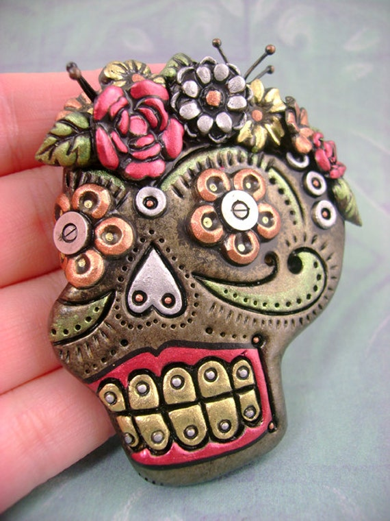 Industrialized Metallic Sugar Skull No1 Pin / Brooch