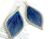 Blue and Purple Leaf Thread Earrings