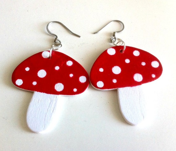 Wooden Amanita Toadstool Mushroom Earrings