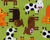 Three (3) Yards - Brown, Orange White Cows on Green Urban Zoologie by Ann Kelle AAK-12858-7 GREEN