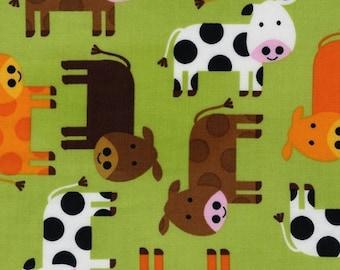 Two (2) Yards - Brown, Orange White Cows on Green Urban Zoologie by Ann Kelle AAK-12858-7 GREEN