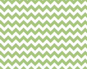One (1) Yard -Riley Blake Small Sized Chevrons Green White Quilter's Cotton Fabric C340-30 Green