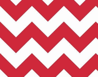 One (1) Yard - Riley Blake Large Chevrons Red White Quilter's Cotton Fabric C330-80 Red