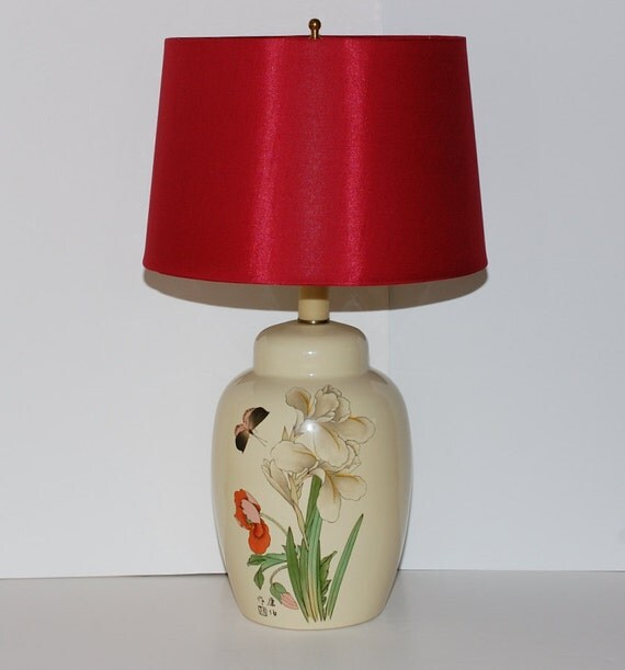 Hollywood Regency Chinoiserie Ginger Jar Ceramic Table Lamp