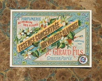 Antique Vintage French Apothecary Perfume Label 25