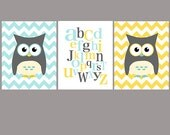 Owl and ABC nursery art - set of three - blue gray yellow - digital print - 8x10 on A4
