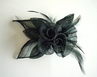 SINAMAY FASCINATOR and PIN,  Black / 1004