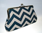 Large Clutch - Chevron Zig Zag Blue