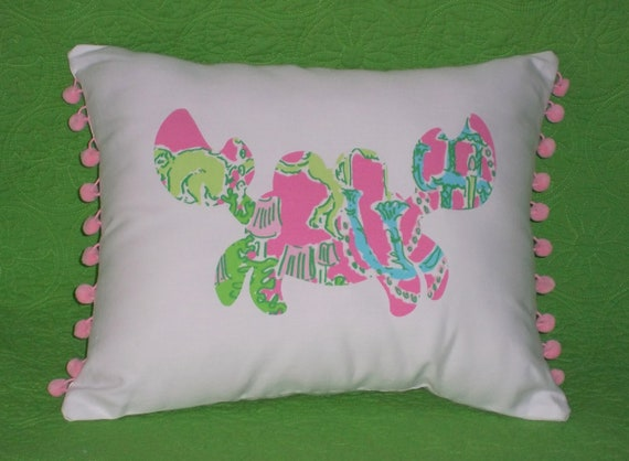 Made to Order pillow, one new custom Crab Pillow made with Lilly Pulitzer Monkey Trouble fabric