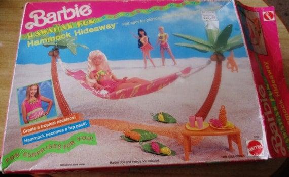 Vintage 1990 Barbie Hawaiian Fun Hammock Hideaway PlaySet by Mattel - New In Box (box opened)