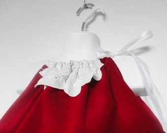 Red Velvet Pillowcase Dress. Baby Red Dress. Girls Red Dress. Christmas Dress. Red and White Dress. Baby's First Christmas.