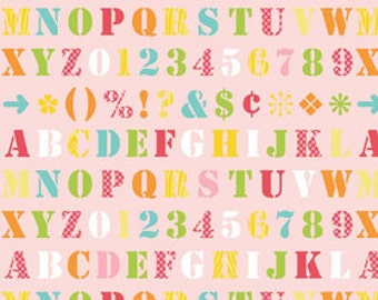 Clearance FABRIC SIMPLY SWEET Alphabet in Pink by Riley Blake  1/2 Yard